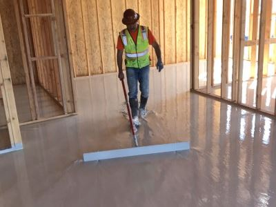 Screeding gypsum