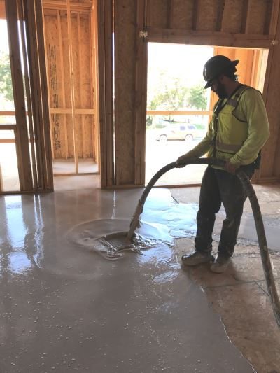 pouring self-leveling lightweight concrete